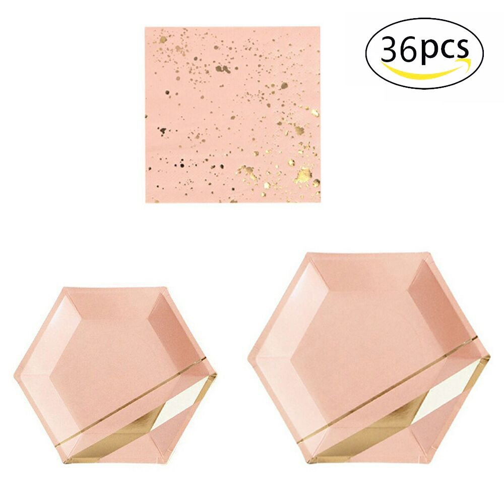 36pcs Party Disposable Dinnerware Sets for Wedding Birthday Camping Party Tableware Gilding Decoration Pink Bronzing Gold Party Paper Plates and Napkins Eco-Friendly Dinner Paper Napkins Plates(Pink) by sphyrna
