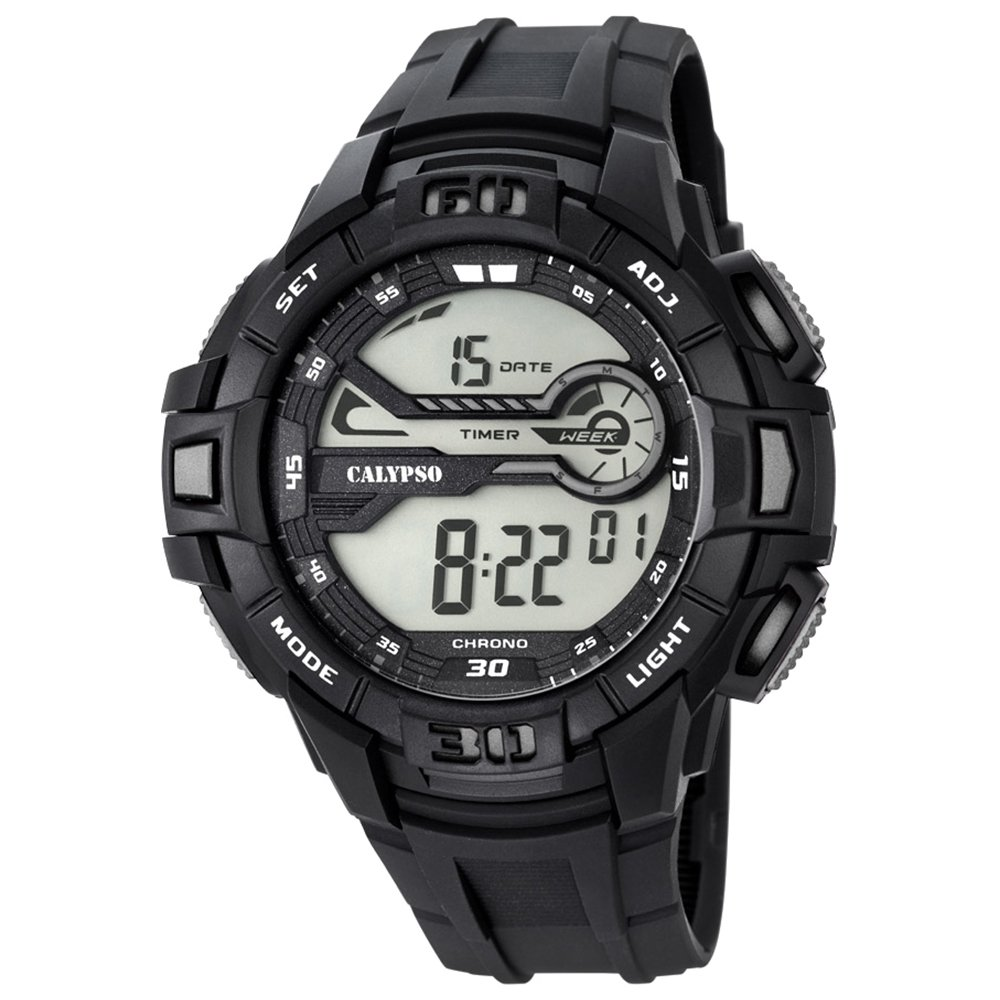 Calypso hombre-reloj deporte digital PU-pulsera negro esfera de colour gris cuarzo-reloj UK5695/1