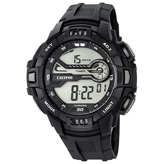 Calypso hombre-reloj deporte digital PU-pulsera negro esfera de colour gris cuarzo-reloj UK5695/1: Calypso: Amazon.es: Relojes