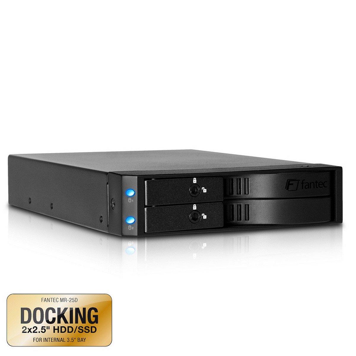 FANTEC MR-25D Bahí a de intercambio para 2 discos duros SATA I/II/III de 6.35 cm (2.5'') y SSD, para montar en una ranura de 8,89 cm (3.5''), negro FANTEC MR-25D Bahía de intercambio para 2 discos duros SATA I/II/III de 6.35 cm (2.5' ' ) y S
