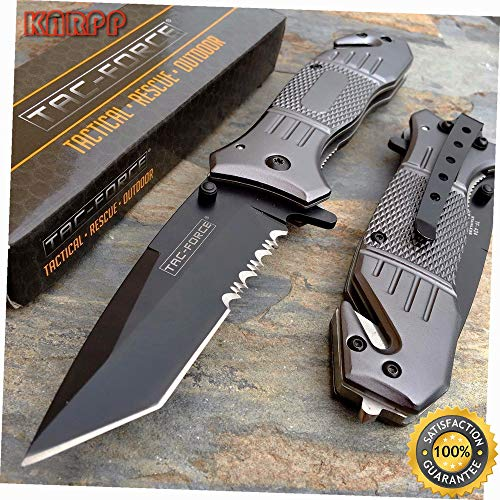 Spring Assisted Grey Aluminum Handle Hunting Tanto Blade Pocket Knife - Outdoor Camping perfect For Hunting EDC EMT (Cummins Pocket Knife)