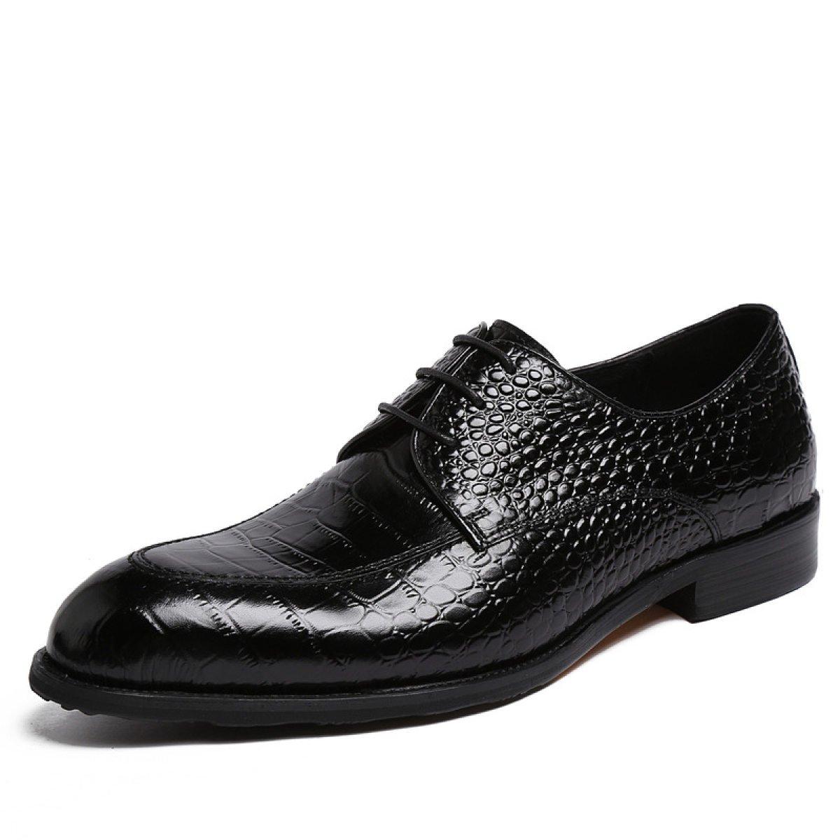 GRRONG Zapatos De Cuero De Los Hombres De Cuero De Vaca Banquetes Acentuadas 42 EU|Black