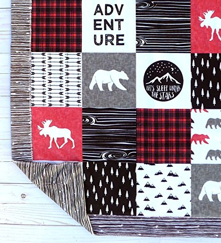 Bear Baby Blanket - Minky Baby Blanket - Moose Baby Blanket - Black White Red - Woodland Blanket -Baby Blanket - Nursery Decor - Crib Bedding - Faux Patchwork by Sugar Doodle Boutique