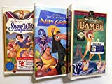 3 VHS WALT DISNEY VIDEOS-BAMBI,SNOW WHITE AND THE EMPEROR'S NEW GROOVE