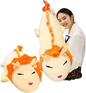 Hofun4U Giant Dragon Plush Pillow, Dragon Stuffed Animals Doll Toy, Soft Giant Dragon Pillow Home Decoration Christmas Birthday Gift for Adults Kids Girls Boys (60 Inches,Orange)