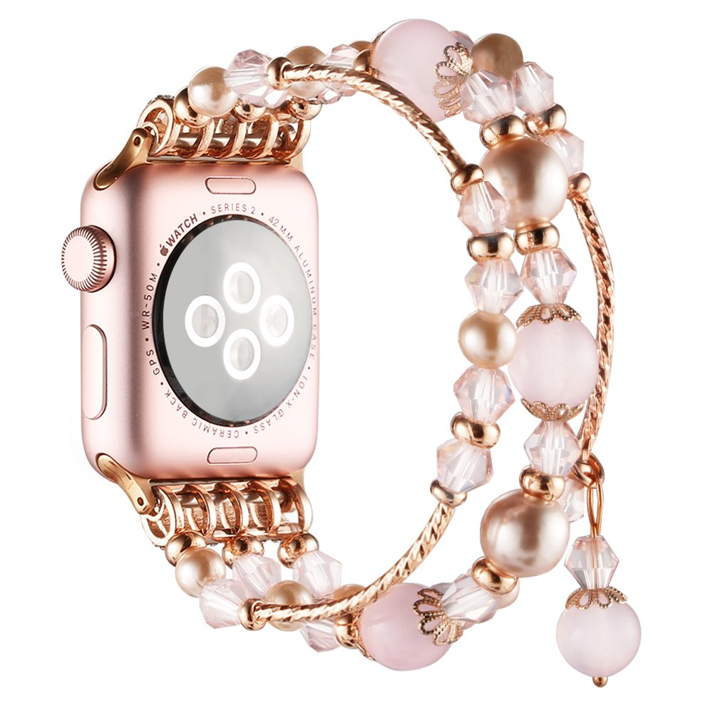 Simpeak Replacement iWatch Band Women Girl Fashion Beaded Elastic Bracelet Band Strap for 42mm Apple Watch Series 3, Series 2, Series 1, 42mm/Rose Pink