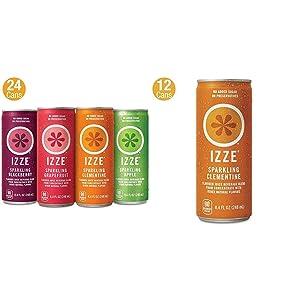 IZZE Sparkling Juice, 4 Flavor Variety Pack, 8.4 Fl Oz (24 Count) & Sparkling Juice, Clementine, 8.4 Fl Oz (12 Count)