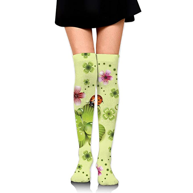 1ad327d034911 Green Clover And Flowers Ladybug St. Patrick's Day Women's Knee High ...
