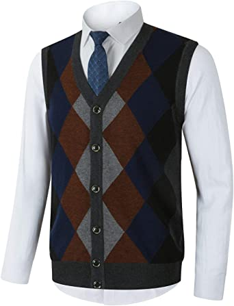 Mens Sleeveless Cardigan Knitted Button Waistcoat Classic Style Cardigans V Neck With Front Design