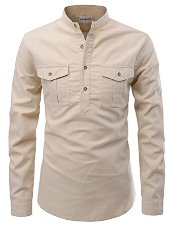c8ffd6c320 NEARKIN (NKNKS763) Mens Slim Fit Cotton Desert vintage Henley Neck Dual  Pocket Shirts BEIGE
