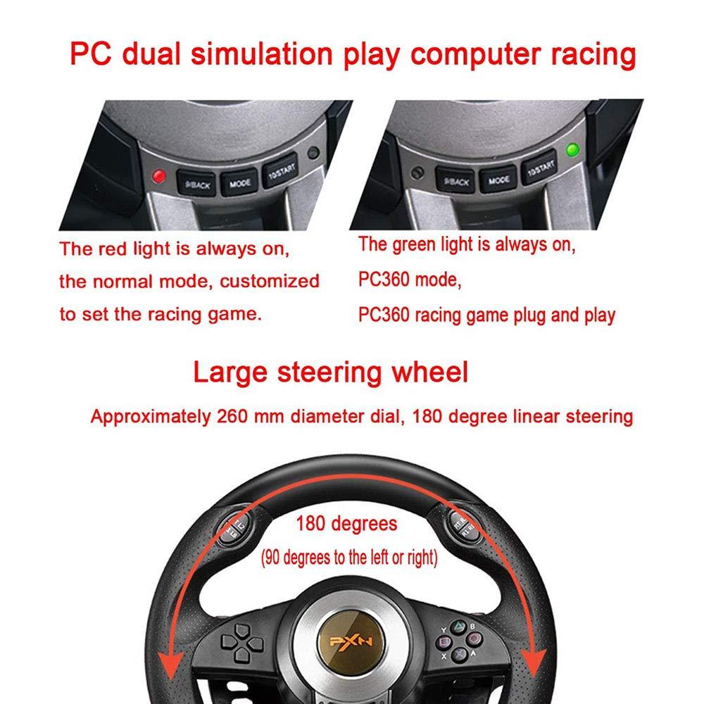 LIUJIE Carreras en el Volante 180 Grados Rotación Controlador de Juegos Joysticks de vibración con Pedal Plegable para PC PS3 PS4 Xbox One Todo en uno ...