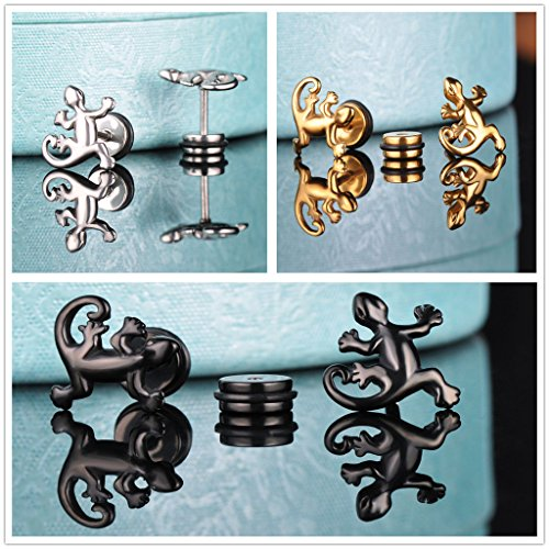 Yumilok Boucle/clou d'oreille en acier inoxydable pour homme la forme singulière le lézard aimable trois pairs en couleur de noir d'argent d'or