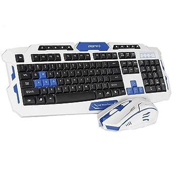 ZJTA Teclado inalámbrico, Teclado de Juegos Multimedia Hk8100 + 2.4 GHz 4 Botones ratón Set para PC Laptop Desktop Gamer,whiteandblue: Amazon.es: Hogar