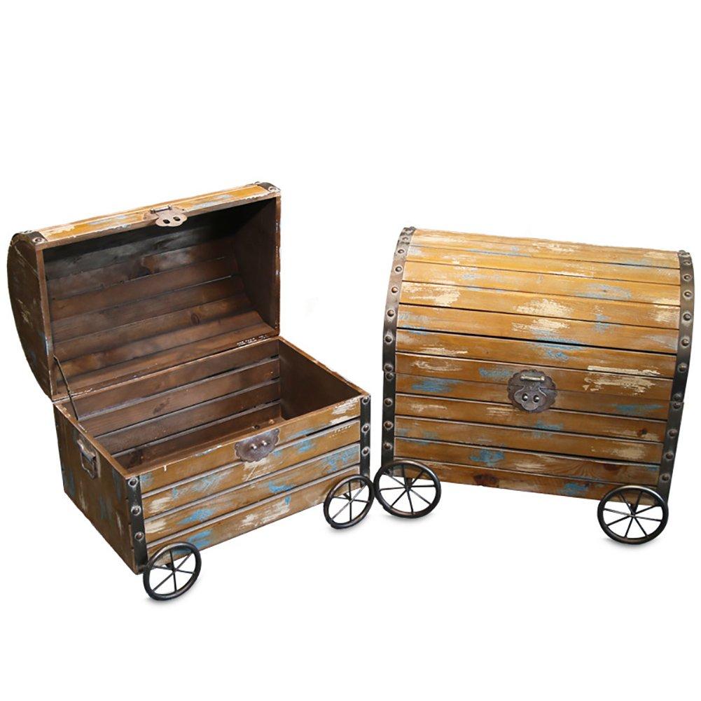 ヴィンテージ木製大型スーツケースソリッドウッド収納ボックスオープンフロア収納キャビネット写真小道具窓装飾 (Size : M) B07D32F33Q  Medium