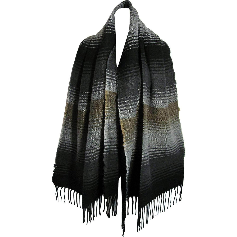 Black Gray Beige Soft Striped Wool Blend Scarf Shawl Cape Wrap Blanket #1