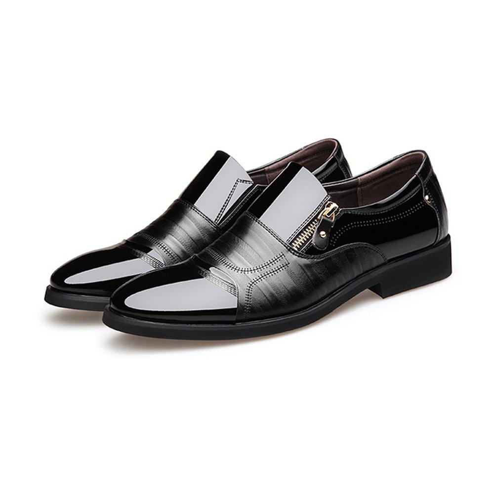 XHD-Schuhe Mode Herren Business Schuhe Glatt Pu-Leder Splice Zipper Dekoration Oxfords Slip-on Atmungsaktive Mesh Oxfords Dekoration (Farbe   Schwarz, Größe   CN25) 9b375c