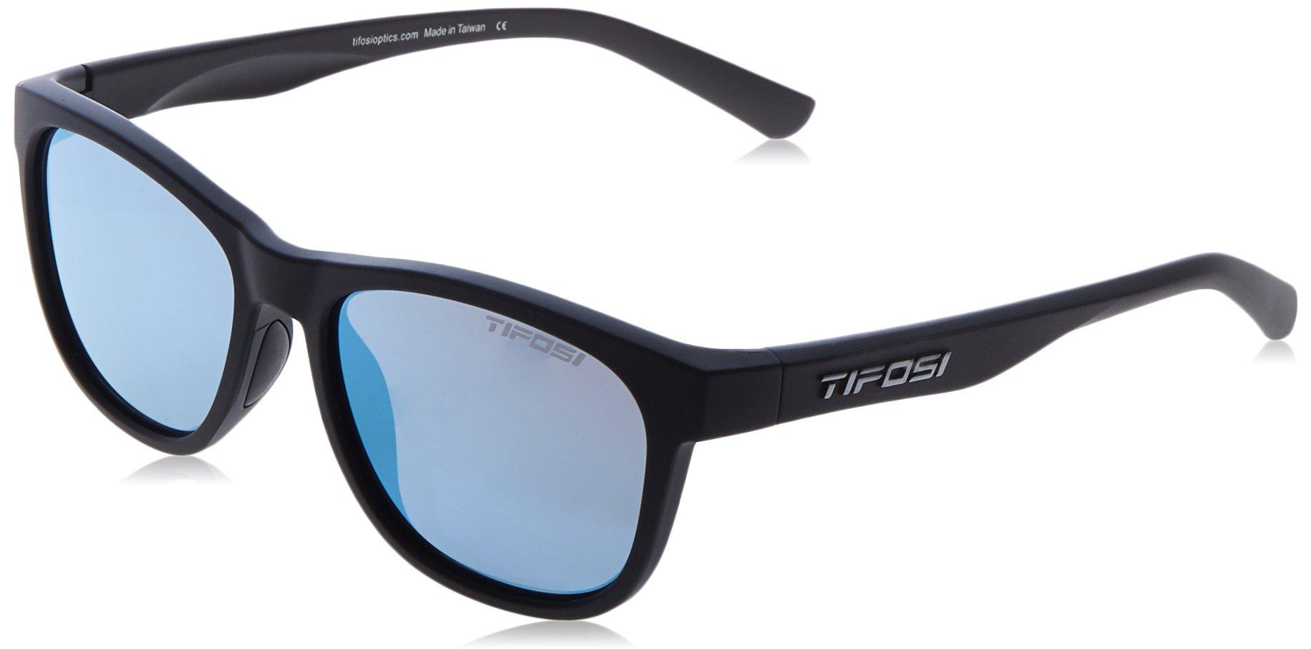 Tifosi Optics Swank Sunglasses Satin Black/Smoke Bright Blue Lenses by Tifosi