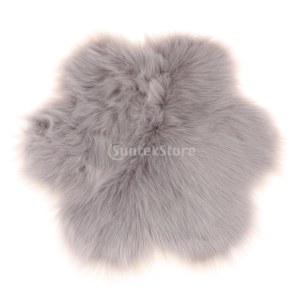 Homyl Faux Fur Sheepskin Chair Cover Seat Pad Soft Fluffy Shaggy Area Rugs For Bedroom Sofa Floor (Flower, 60 x 60 cm) - Beige