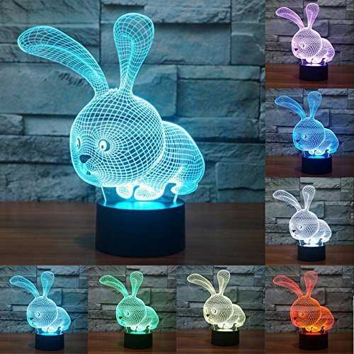 3D Illusion Rabbit LED Lamp,7 Colors Gradual Changing Touch Switch USB Table Lamp for Holiday Gifts or Home Decorations by Threetoo