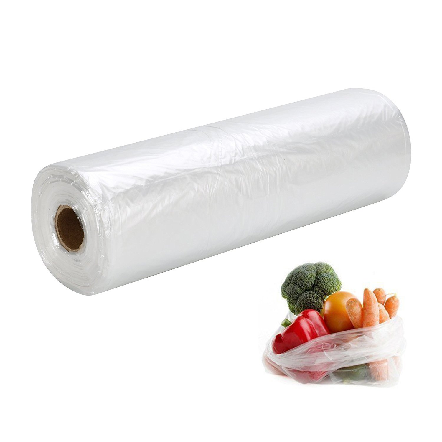"PAPRMA Food Storage Bags, 12"" X 20"" Clear Plastic Produce Bag for Fruits, Vegetable, Kitchen Bags On a Roll, 350pcs/Roll, 1 Roll"
