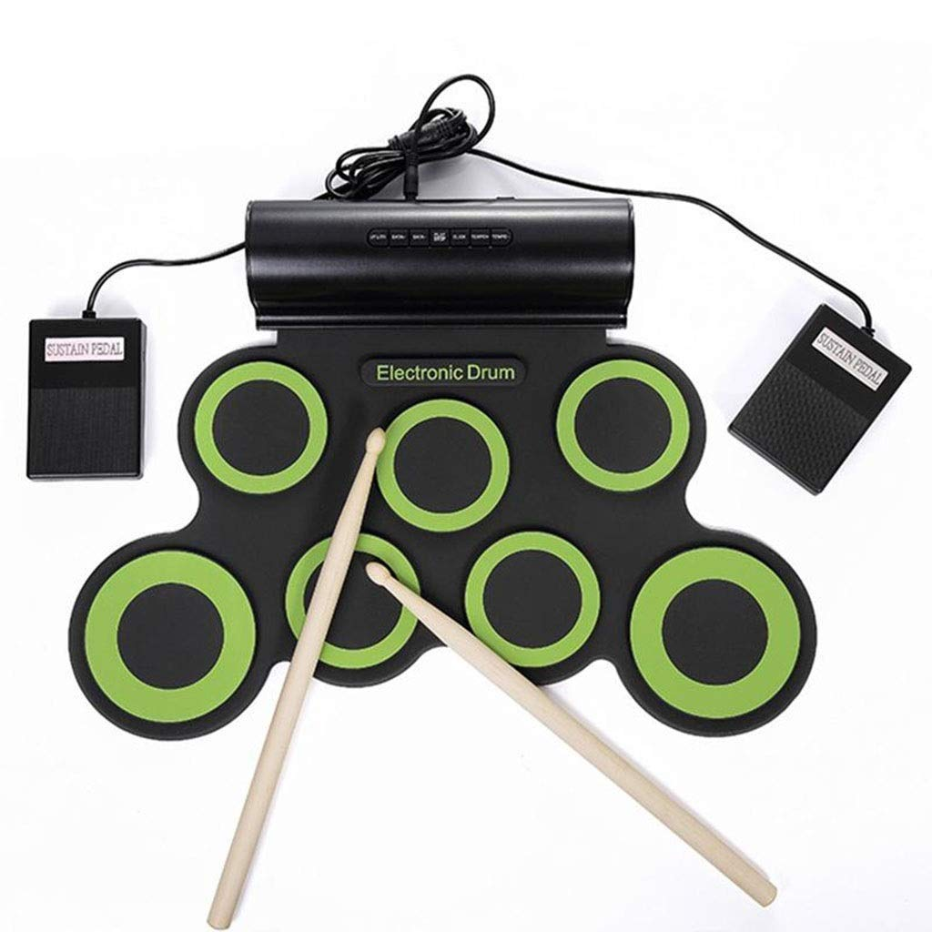 JLL Electronic Drum Set, Roll Up Drum Practice Pad Midi Drum Kit with Headphone Jack Built-in Speaker Drum Pedals Drum Sticks 10 Hours Playtime, Great Holiday Birthday Gift for Kids (Color : Green) by JLL