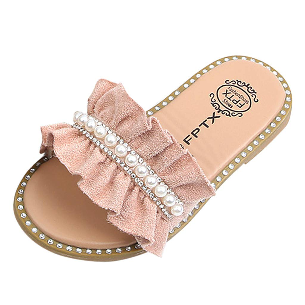 Voberry- Kids Baby Girls Pearls Crystal Ruffles Princess Shoes Sandals Slippers