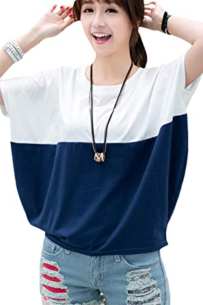 963771645b88 Womens Summer Tops Batwing Sleeve Casual T Shirt Color Block Tee at ...