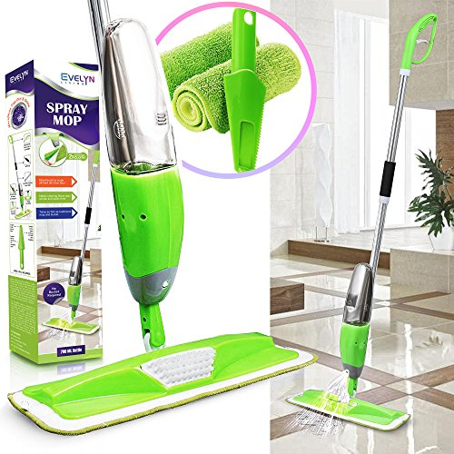 Evelyn Living Green Spray Mop With Refillable 700 ml Capacity Bottle With...