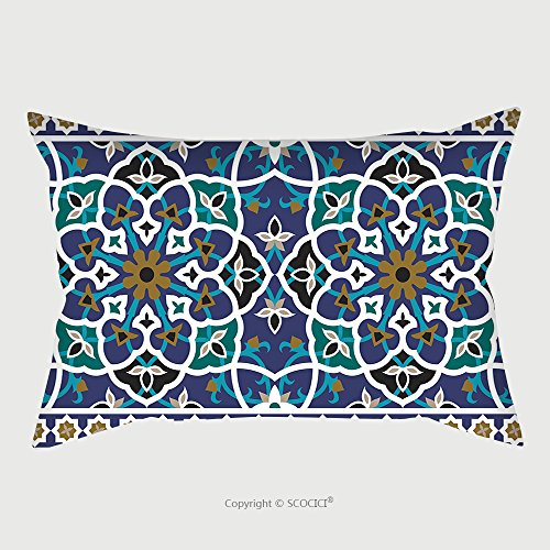 Custom Satin Pillowcase Protector Arabic Floral Seamless Border Traditional Islamic Design Mosque Decoration Element 445443979 Pillow Case Covers Decorative by chaoran