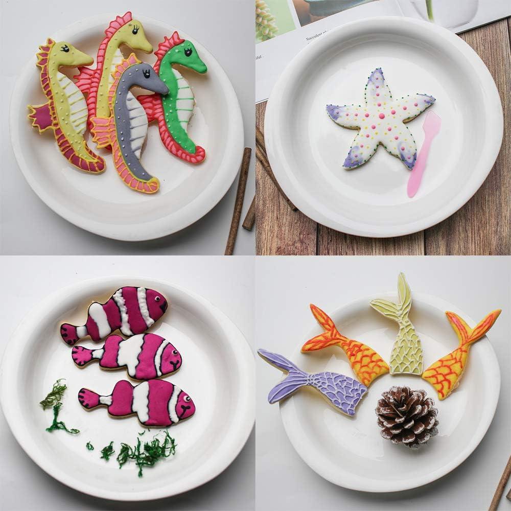 Set di 3 formine per biscotti a forma di sirena in acciaio inox per biscotti stella marina fondente Oceano Creatura formine per Biscotti coda di sirena conchiglia