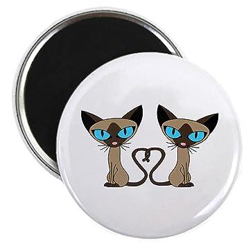 """CafePress, diseño de gatos siameses cola corazón imán – 2.25 """"redondo imán,"""