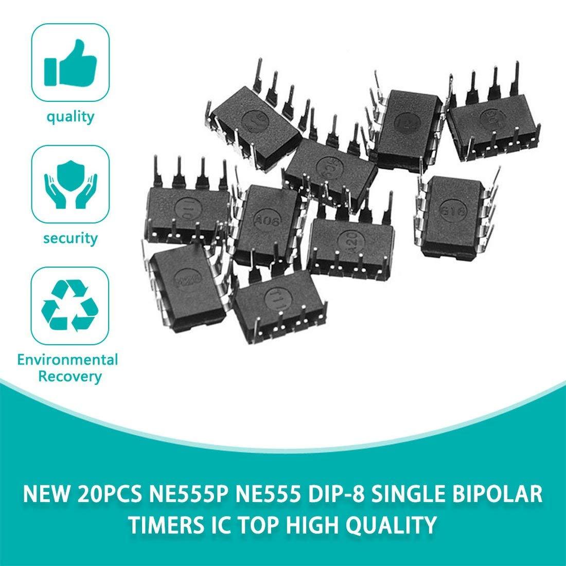 negro Nuevo 20PCS NE555P NE555 DIP-8 TEMPORIZADORES BIPOLARES SIMPLES IC TOP de alta calidad