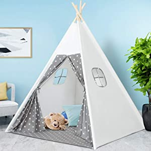 Kids Teepee Tent with Carry Bag + 2 Windows, Toddlers Teepee Play Tent for Boys or Girls, Indoor and Outdoor Kids Playhouse for Child Aged 3+