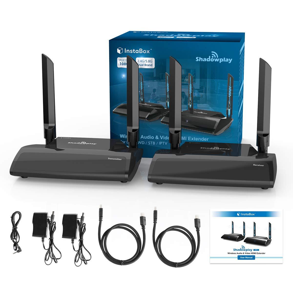 InstaBox Shadowplay SP2 1080P 3D Wireless HDMI Transmitter & Receiver Kit  Up to 330 ft, AV Sender Receiver w/IR Transmission, HDMI Extender Streaming
