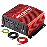 POTEK 1500W Power Inverter DC 12V to AC 110V Car Converter with Dual