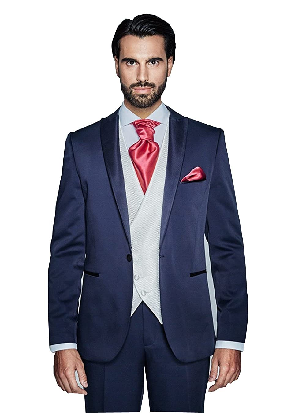 54ad58ae6f3 Fenghuavip Elegant Deep Blue 3 PCs Blazer Business Suits Set for Mens at  Amazon Men's Clothing store: