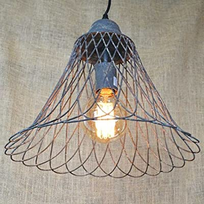 Vintage Pendant Light with Rustic Metal Wire Basket Lamp Shade, 12.5 in.