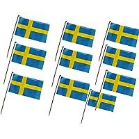 DierCosy Suecia Palo de la Bandera 10PCS / Paquete Suecia Mano Que agitan Banderas Mini Bandera