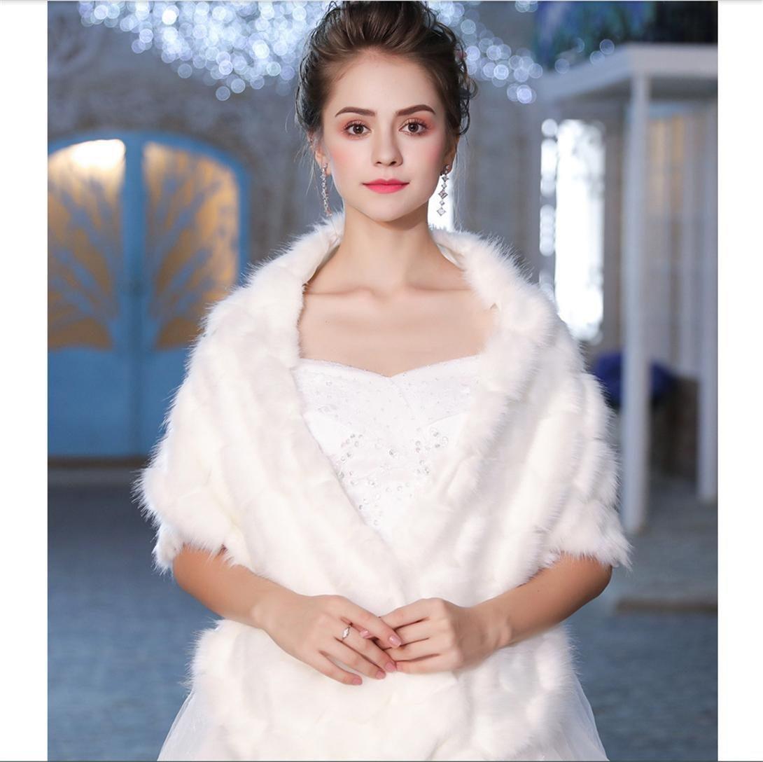 GWQ Braut Hochzeit Faux Pelz Schal Cape Parcel Hochzeitskleid Cape ...