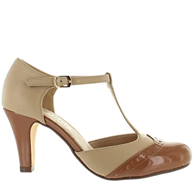 3fc7a19befe6 Chelsea Crew Gatsby - Tan Patent Nude T-Strap Pump - Size  6