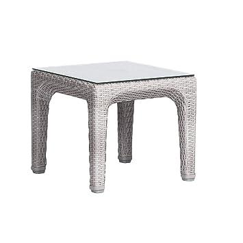 Artie - Petite Table de jardin Basse Dynasty, Résine Tressée Blanc ...