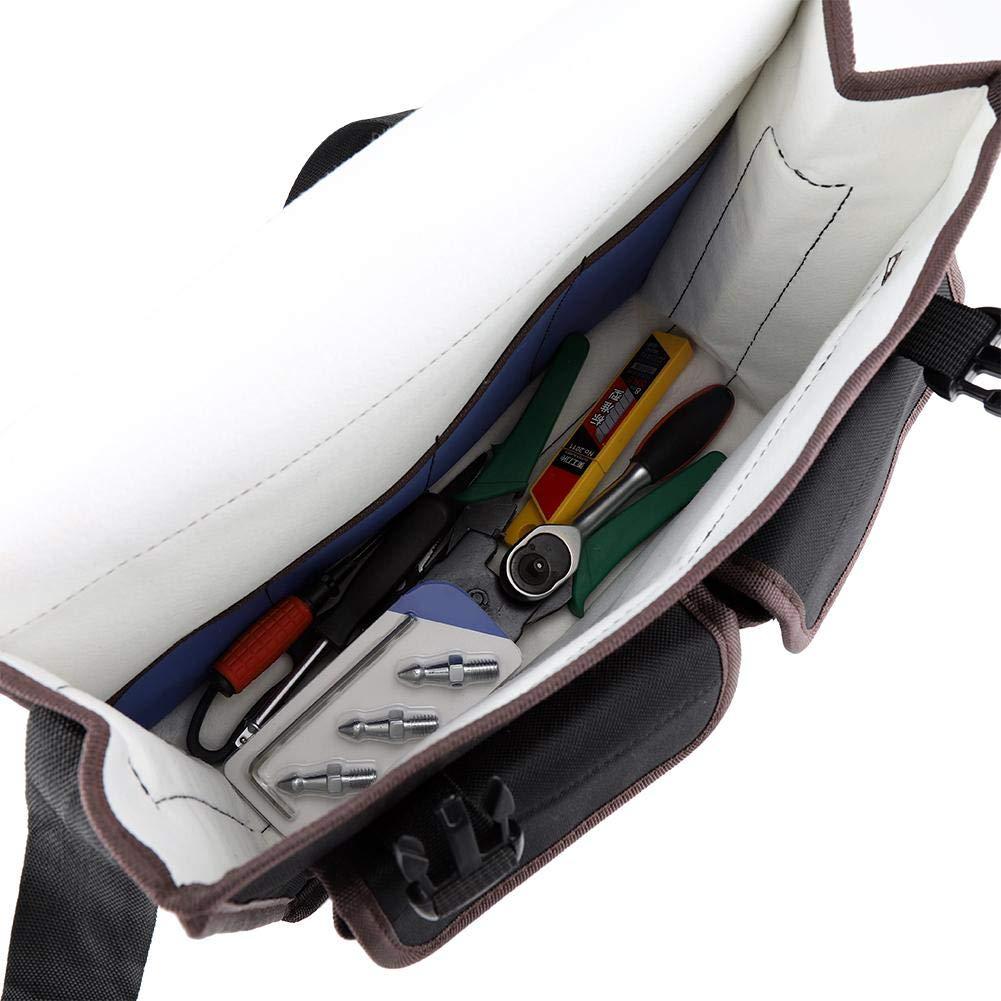 Bolsa de herramientas con correa de hombro Gray resistente al desgaste bolsillos verticales gruesos Bolsa de herramientas de tela Oxford con correa ajustable