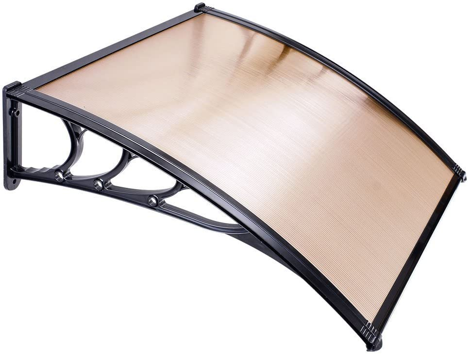 39.4 x 39.4 Window Awning Door Coffee Sun Shade Canopy Hollow Polycarbonate Sheet Cover UV Rain Snow for Outdoor Patio Furniture Protect Doorway