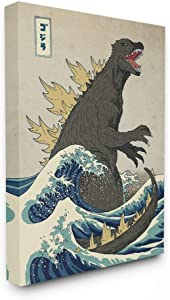 Stupell Industries Godzilla in The Waves Eastern Poster Style Illustration Canvas Wall Art, 16 x 20, Design by Artist Michael Buxton