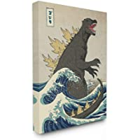 The Stupell Home Decor Collection Godzilla in The Waves Eastern Poster Style Illustration Stretched Canvas Wall Art, 16…