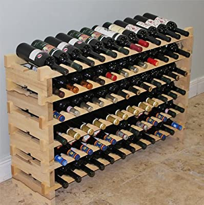 Stackable Modular Wine Rack Stackable Storage Stand Display Shelves, Wobble-Free, Pine wood, WN84