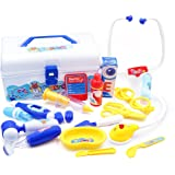 Doctor Play Set with Electronic Stethoscope - Lunaoo Durable Medical Kit 18 Doctor's Equipment - Educational and Great for Role Play
