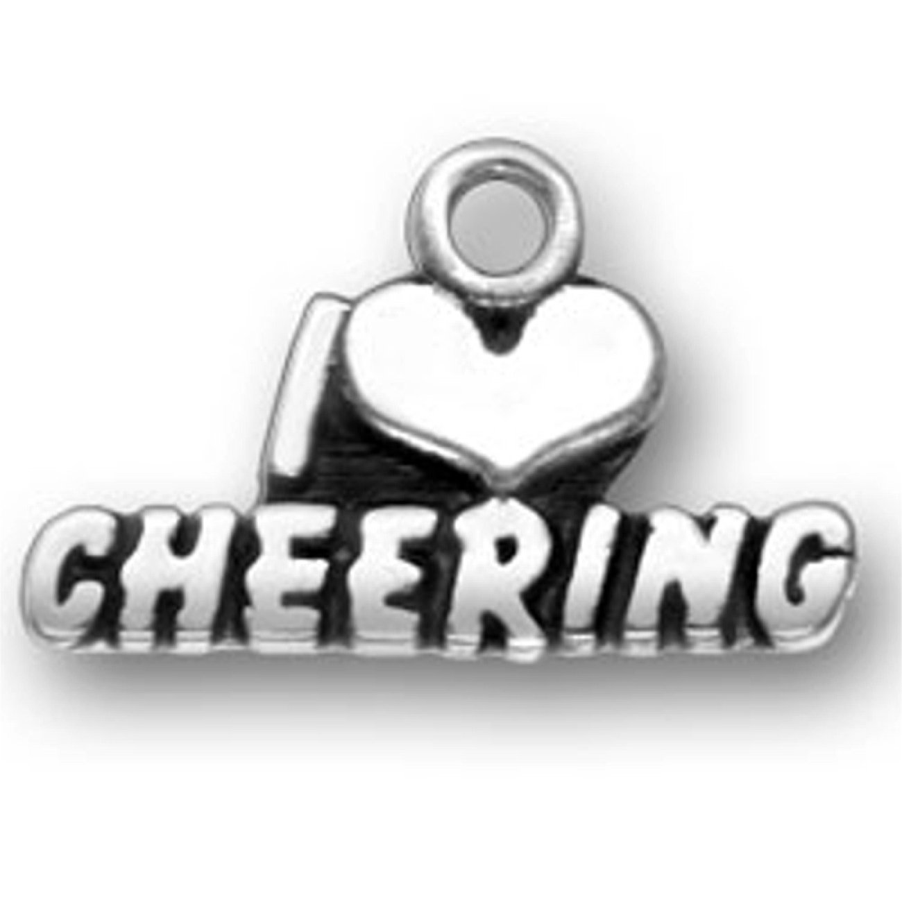 Sterling Silver 7 4.5mm Charm Bracelet With Attached I HEART CHEERING Sports Word Charm
