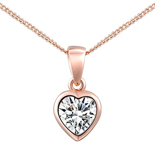 joyliveCY Women Charm Jewerly Pendant Heart-Shaped Rose Gold Plated Chain Necklace