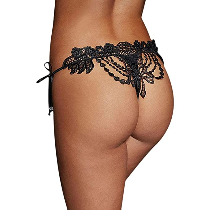 494afaf9ca4e3a Creazy Sexy Lace Lady Briefs Lingerie Knickers G-string Thongs Panties  Underwear (Black)